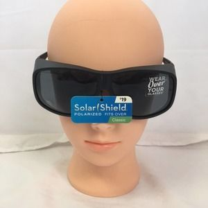 Solar Shield Fits Over Classic Sunglasses Black XL